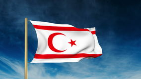 North Cyprus flag slider style. Waving in the win. North Cyprus flag slider style. Waving with cloud background animation stock video footage
