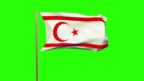North Cyprus flag waving in the wind. Green screen. Alpha matte. Loops animation stock video