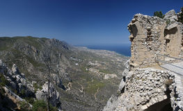 North Cyprus St. Hilarion. Ruins of St. Hilarion castle erected in late 11th century in Cyprus stock image