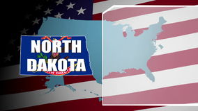 North Dakota Countered Flag and Information Panel stock video footage