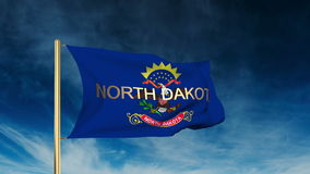 North dakota flag slider style with title. Waving stock video