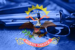 North Dakota flag U.S. state Gun Control USA. United States. Gun Laws Royalty Free Stock Photography