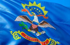 North Dakota flagga 3D som vinkar design för USA tillståndsflagga MedborgareUSA-symbolet av den North Dakota staten, tolkning 3D  royaltyfria bilder
