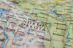 North Dakota on map. Close up shot of North Dakota.  is a U.S. state in the midwestern and northern regions of the United States Royalty Free Stock Images