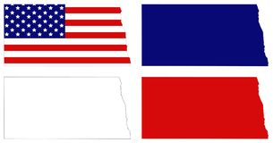 North Dakota map with USA flag - state in the midwestern and northern regions of the United States. Vector file of North Dakota map with USA flag - state in the Royalty Free Stock Photography