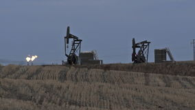 North Dakota Oil Pump Jack Fracking Crude Extraction Machine. Two pump jacks fracking in the Bakken Range with a burner in the background stock video footage
