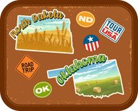 North Dakota, Oklahoma travel stickers with scenic rural landscapes. North Dakota, Oklahoma travel stickers with scenic attractions and retro text on vintage Royalty Free Stock Images