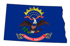 North Dakota Outline Map and Flag. Outline of the state of North Dakota isolated with inset flag Royalty Free Stock Image