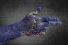 North Dakota påstår flaggan som målas på den manliga handen som ett vapen royaltyfri fotografi