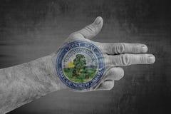 North Dakota påstår skyddsremsaflaggan som målas på den manliga handen som ett vapen arkivfoton