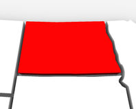 North Dakota Red Abstract 3D State Map United States America Royalty Free Stock Image