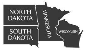 North Dakota - South Dakota - Minnesota - Wisoncsin labelled bla. Ck illustration Stock Photo