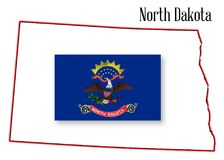 North Dakota State Map and Flag. Outline of the state of North Dakota isolated with inset flag Stock Photos