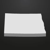 North Dakota State map in gray on a black background 3d Royalty Free Stock Photo