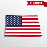 North Dakota State map with US flag inside and ribbon Royalty Free Stock Image