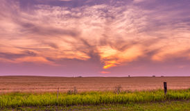 North Dakota Sunset near Bismarck. North of Bismarck on Route 83 royalty free stock images