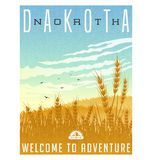 North Dakota, United States travel poster. Or luggage sticker. Scenic illustration of golden wheat fields withbirds and cirrus clouds overhead Royalty Free Stock Photography