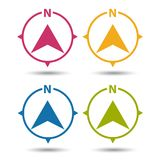 North Direction Compass Icon - Colorful Vector Illustration - Isolated On White. Background Stock Photos