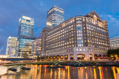 North Dock in Londons docklands at night stock photography