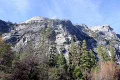 North dome and lower slopes viewed from Mirror lake, Yosemite National Park, California Stock Photos