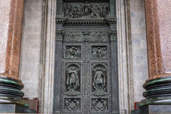 North door of St. Isaac`s Cathedral is the largest Orthodox church in St. Petersburg Stock Photo