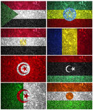 North-East Africa flags. Ethiopia, Sudan, Egypt, Chad Libya, Tunisia, Algeria and Niger  of wall texture Stock Photos