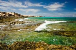 North East coast of Fuerteventura,. Coastline of the north east coast of Corralejo, Fuerteventura, Canary-islands, Spain Stock Photo