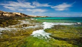 North East coast of Fuerteventura,. Coastline of the north east coast of Corralejo, Fuerteventura, Canary-islands, Spain Stock Photography