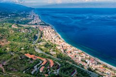 North east coast of Sicily. As seen from the road to Forza d`Agro stock image
