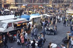 The north-east corner of the Foodfestival. Amsterdam, the Netherlands - November 29, 2015: Visitors at the Spaanse Worst Lust and the Zilt en Zalig food trucks Stock Photo