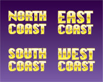 North East South West Coast golden letters Stock Photos