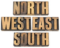 North, east, south, west in wood type Stock Photos
