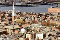 North End Boston. Boston North End with the prominent steeple of Old North Church royalty free stock photography