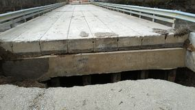North end of bridge gone after severe flooding. North end of bridge gone after week of heavy rain caused severe February flooding in western Indiana Royalty Free Stock Image