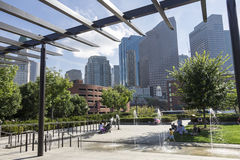 North End Park Boston Massachusetts. People enjoying the North End Park with its fountain in Boston, Massachusetts royalty free stock photo