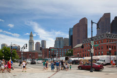 The North End Parks on the Rose Kennedy Greenway have reconnected Boston. Boston,Massachusetts,USA - July 2,2016: The North End Parks on the Rose Kennedy stock images