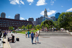 The North End Parks on the Rose Kennedy Greenway have reconnected Boston. Boston,Massachusetts,USA - July 2,2016: The North End Parks on the Rose Kennedy stock image