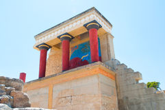 North Entrance with charging bull fresco at the Knossos palace. Greece island, Greece. Royalty Free Stock Photo