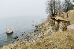 North Estonian limestone shore  in a fog Royalty Free Stock Images