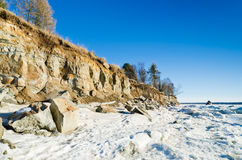 North Estonian limestone shore on a winter Royalty Free Stock Photos