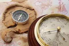 North Europe. Compass and barometer on old chart of North Europe Royalty Free Stock Photos