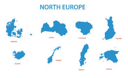 North europe - maps of territories - vector Royalty Free Stock Photos