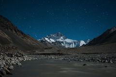 The north face of Mt.Everest, Tibet. Night shot, the north face view of Mt.Everest in Tibet Royalty Free Stock Images
