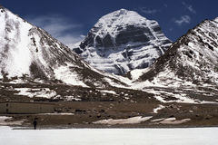 At the North Face of Sacred Mount Kailash. Royalty Free Stock Image