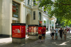 The North Face Shop on Kurfuerstendamm. BERLIN - AUGUST 03: The North Face Shop on Kurfuerstendamm. The North Face, is a company specializing in the manufacture Royalty Free Stock Photos