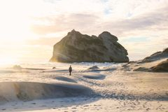 Wharariki Beach is a beach west of Cape Farewell, the northernmost point of the South Island of New Zealand stock photo