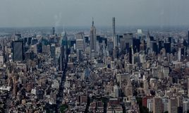 North Facing shot of The Empire State Building and Midtown Manhattan from the Financial District. stock images