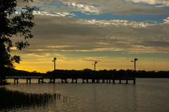 North Fishing pier at Ink`s Lake State Park, Texas royalty free stock image