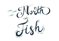 North fith lettering. Sketch design lettering North Fish stock illustration
