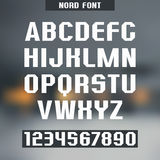 North font. Font and numeral on blurred background Royalty Free Stock Image